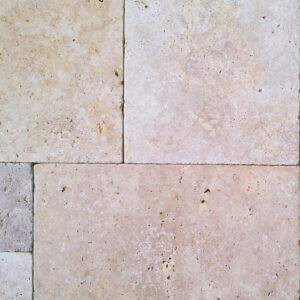 terra blend travertine pavers close up